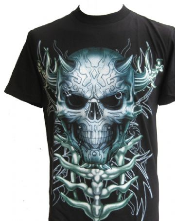 Punk Skull T Shirt With Large Back Print